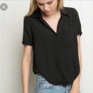 Brandy Melville Black Short Sleeved Collared Shirt